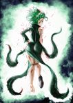 1girl absurdres ass black_footwear bleeding blood closed_mouth dress floating_hair from_behind green_dress green_hair green_theme highres looking_at_viewer looking_back one-punch_man parted_lips shoes short_hair sideways_glance single_shoe skin_tight solo tatsumaki the_golden_smurf