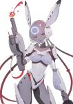 1girl :o ahoge animal_ears arm_cannon armor bodysuit contrapposto covered_navel cyborg fake_animal_ears helmet highres huang_(volt0526) joints punishing:_gray_raven red_eyes robot_joints science_fiction shoulder_armor solo weapon white_background white_hair