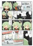 anchovy_(girls_und_panzer) anzai_romi embarrassed glasses green_hair hair_ribbon highres jinguu_(4839ms) long_hair mother_and_daughter red_eyes restaurant ribbon smile stuffed_animal stuffed_toy translation_request tsuji_renta wheel