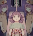 6+girls absurdres bangle blood bracelet closed_eyes expressionless grey_eyes hat highres huge_filesize jewelry kapura medium_hair minigirl multiple_girls operating_table original purple_hair screen signature surgery upper_body