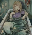 1girl absurdres bangs bathtub brown_hair champagne_flute cup drinking_glass fins grey_eyes highres kapura kneeless_mermaid long_hair mermaid monster_girl original partially_submerged purple_shirt ripples scratches shirt short_sleeves signature solo