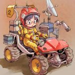 1girl :o all-terrain_vehicle black_hair commentary driving eyebrows_visible_through_hair glasses helmet highres kiichi mazda original satellite_dish science_fiction simple_background solo spacesuit