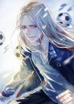 1boy ball black_pants blonde_hair clenched_hand days_(manga) jacket katagawa_mika long_hair looking_at_viewer male_focus pants soccer_ball solo tsukamoto_tsukushi upper_body