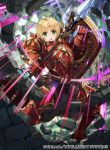 1girl amelia_(fire_emblem) armor armored_boots blonde_hair boots chain fire_emblem fire_emblem:_the_sacred_stones fire_emblem_cipher gold_trim green_hair kurosawa_tetsu official_art polearm red_armor ruins shield short_hair shoulder_armor spear weapon