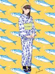 1girl anchovy_(fish) bangs beret black_legwear blunt_bangs brown_hair can canned_food commentary_request flat_chest floral_print full_body hair_over_shoulder hat highres japanese_clothes kimono lips medium_hair munakata_(hisahige) obi original personification print_kimono sandals sash solo standing white_kimono yellow_background