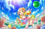 blush brown_eyes brown_hair idolmaster_cinderella_girls_starlight_stage kitami_yuzu short_hair smile swimsuit