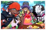 3boys aqua_eyes black_hair black_hoodie closed_eyes clouds commentary_request curry dark_skin dark_skinned_male day dreepy dynamax_band eyelashes eyeshadow facial_hair food galarian_form galarian_zigzagoon gen_3_pokemon gen_6_pokemon gen_8_pokemon gigantamax gloves goomy green_eyes gym_leader hair_over_one_eye hands_up holding holding_spoon jacket leon_(pokemon) long_hair makeup meiji_ken multicolored_hair multiple_boys official_style outdoors piers_(pokemon) pokemon pokemon_(creature) pokemon_(game) pokemon_swsh purple_hair raihan_(pokemon) single_glove sky smile spoon sweatdrop teeth thumbs_up trapinch tree two-tone_hair white_jacket