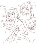 >_< =_= ahoge arched_back highres kagamine_len kagamine_rin lying messy_hair monochrome navel nightmare on_back on_bed on_person on_side pajamas sazanami_(ripple1996) shirt short_hair shorts sketch sleeping sleeping_on_person sleepwear sleeveless sleeveless_shirt vocaloid zzz