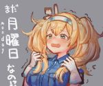 1girl blonde_hair blue_eyes blue_shirt bokukawauso breast_pocket breasts collared_shirt commentary gambier_bay_(kantai_collection) gloves grey_background hairband kantai_collection large_breasts long_hair looking_at_viewer multicolored multicolored_clothes multicolored_gloves pocket shirt simple_background solo translated twintails upper_body wss_(nicoseiga19993411)