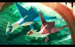 :d artist_name bridge claws commentary_request day from_above gen_2_pokemon gen_3_pokemon happy latias latios legendary_pokemon lens_flare looking_at_another meiji_ken no_humans open_mouth outdoors pokemon pokemon_(creature) red_eyes remoraid smile water watermark yellow_eyes