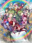 blue_dress blue_hair braid braided_bangs cape cloak closed_eyes dragonstone dress fae_(fire_emblem) field fire_emblem fire_emblem:_mystery_of_the_emblem fire_emblem:_new_mystery_of_the_emblem fire_emblem:_shadow_dragon fire_emblem:_shadow_dragon_and_the_blade_of_light fire_emblem:_the_binding_blade fire_emblem:_the_blazing_blade fire_emblem:_the_sacred_stones fire_emblem_awakening fire_emblem_cipher flower flower_field green_eyes green_hair kawasumi_mahiro long_hair manakete myrrh_(fire_emblem) nagi_(fire_emblem) nah_(fire_emblem) ninian_(fire_emblem) nowi_(fire_emblem) official_art pink_cape pink_dress pointy_ears ponytail purple_hair rainbow red_cape red_cloak red_dress red_eyes short_hair short_twintails tiki_(fire_emblem) twintails violet_eyes wings yellow_robe