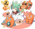 1girl absurdres ahoge akashi_(azur_lane) azur_lane bangs bell bird blush chick commentary_request crossover gen_4_pokemon green_hair grey_legwear hair_between_eyes hair_ornament haneramu heart highres long_hair long_sleeves musical_note open_mouth pokemon pokemon_(creature) rotom rotom_(fan) rotom_(frost) rotom_(heat) rotom_(mow) rotom_(wash) sleeves_past_fingers sleeves_past_wrists socks sparkle tongue yellow_eyes