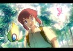1boy alternate_color artist_name backpack bag blue_eyes brown_backpack brown_hair buttons celebi commentary_request day forest gen_2_pokemon looking_to_the_side meiji_ken mythical_pokemon nature open_mouth outdoors pokemon pokemon_(anime) pokemon_(classic_anime) pokemon_(creature) pokemon_m04 samuel_oak shiny_pokemon shirt short_sleeves sidelocks tree watermark