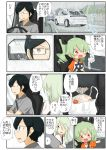 anchovy_(girls_und_panzer) anzai_romi embarrassed glasses green_hair hair_ribbon highres jinguu_(4839ms) long_hair mother_and_daughter red_eyes ribbon smile stuffed_animal stuffed_toy translation_request tsuji_renta wheel
