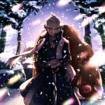 1boy akihorisu blue_coat brown_eyes cane closed_mouth coat commentary day fingernails floating_clothes gen_2_pokemon highres holding long_sleeves looking_at_viewer outdoors piloswine pokemon pokemon_(creature) pokemon_(game) pokemon_hgss pryce_(pokemon) scarf smile snow snowing tree white_hair white_scarf