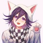 1boy animal_hood bangs cat_hood checkered checkered_scarf commentary_request danganronpa ewa_(seraphhuiyu) fangs gloves hair_between_eyes highres hood looking_at_viewer male_focus new_danganronpa_v3 open_mouth ouma_kokichi paw_gloves paws pink_eyes portrait purple_hair scarf smile solo upper_body violet_eyes