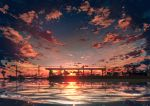 abisswalker8 absurdres chair clouds cloudy_sky commentary_request highres horizon huge_filesize no_humans ocean original outdoors power_lines reflection scenery sky station sunset water
