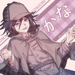 1boy artist_name belt black_hair bow bowtie character_name checkered commentary_request danganronpa deerstalker detective double-breasted dutch_angle ewa_(seraphhuiyu) hair_between_eyes hands_up hat highres long_sleeves looking_at_viewer male_focus new_danganronpa_v3 open_mouth ouma_kokichi plaid plaid_capelet purple_hair short_hair smile solo translation_request upper_body upper_teeth violet_eyes