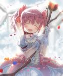 1girl :d ^_^ alknasn backlighting blurry blurry_background bow_(weapon) bubble_skirt buttons choker closed_eyes clouds cloudy_sky commentary_request day depth_of_field dot_nose eyebrows_visible_through_hair facing_viewer flat_chest flower frilled_sleeves frills glint gloves grey_sky hair_ribbon hands_up happy highres holding holding_bow_(weapon) holding_weapon jitome kaname_madoka leaf light_blush light_particles light_rays mahou_shoujo_madoka_magica open_mouth outdoors petals pink_hair pink_ribbon puffy_short_sleeves puffy_sleeves red_choker red_flower red_neckwear red_rose ribbon ribbon_choker rose shadow shiny shiny_hair short_sleeves skirt sky smile solo soul_gem sunlight translation_request twintails weapon white_gloves white_skirt wind_turbine windmill