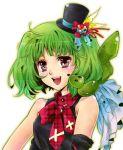 1girl 1other ai-kun brown_eyes fang green_hair halloween hat juri_(flawless2020) looking_at_viewer macross macross_frontier mini_hat open_mouth ranka_lee short_hair solo_focus