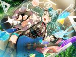 bang_dream! blush dress green_eyes green_hair guitar hikawa_sayo long_hair ponytail