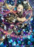 1girl black_dress blonde_hair boots bow capelet dress drill_hair elise_(fire_emblem) field fire_emblem fire_emblem_cipher fire_emblem_fates flower flower_field frills hair_bow holding holding_weapon horse kawasumi_mahiro magic_circle official_art outdoors petals purple_ribbon ribbon staff twintails violet_eyes weapon