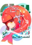 1girl brown_eyes commentary_request fish_girl from_side gem hair_ornament head highres jewelry lips long_hair looking_at_viewer mikazuki_akira! mipha monster_girl multicolored multicolored_skin no_eyebrows pointy_ears profile red_skin redhead solo the_legend_of_zelda the_legend_of_zelda:_breath_of_the_wild water zora