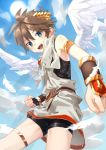 1boy aikagi_sheena blue_sky brown_hair clouds cloudy_sky commentary day highres kid_icarus looking_at_viewer male_focus open_mouth outdoors pit_(kid_icarus) sky smile solo sunlight textless wings