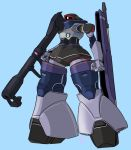 bazooka_(gundam) blue_background clenched_hand dom gun gundam holding holding_gun holding_weapon looking_ahead mecha mobile_suit_gundam moi_moi7 one-eyed redesign solo weapon zeon