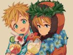 2boys :d bangs blonde_hair blue_eyes brown_background closed_mouth collared_shirt commentary_request cup drinking_glass drinking_straw expressionless floral_print flower food fruit green_shirt hair_between_eyes happy hawaiian_shirt head_wreath highres holding holding_cup hood hood_up kenny_mccormick lei lemon lemon_slice looking_at_viewer male_focus multiple_boys open_mouth orange orange_slice parka print_shirt sayshownen shirt short_hair short_sleeves simple_background smile south_park spiky_hair tropical_drink tweek_tweak