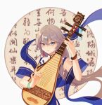 1girl bangs bare_shoulders black_hair blue_eyes bracelet china_dress chinese_clothes chinese_text closed_mouth dress fu_hua fu_hua_(valkyrie_accipter) hair_between_eyes highres holding holding_instrument honkai_(series) honkai_impact_3rd instrument jewelry long_hair looking_at_viewer lute_(instrument) music playing_instrument ponytail simple_background solo tutou_jiang white_background