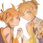 2boys aqua_eyes backlighting blonde_hair bouquet collar commentary daisy dual_persona floral_print flower formal gloves hair_ornament hairclip headphones highres holding_hands interlocked_fingers japanese_clothes kagamine_len leaning_forward libertyp39 looking_at_viewer magical_mirai_(vocaloid) male_focus multiple_boys short_ponytail signature smile spiky_hair suit upper_body vocaloid white_background white_gloves white_suit