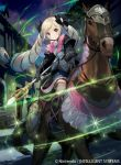 1girl blonde_hair boots bow dress drill_hair elise_(fire_emblem) fire_emblem fire_emblem_cipher fire_emblem_fates flower hair_bow holding holding_weapon horse kawasumi_mahiro magic night night_sky official_art outdoors pink_bow pink_ribbon ribbon sky staff town twintails violet_eyes weapon white_flower