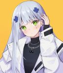1girl ankkoyom bangs black_shirt blue_hair blush ear_piercing eyebrows_visible_through_hair girls_frontline green_eyes hand_in_hair highres hk416_(girls_frontline) jacket jewelry long_hair looking_at_viewer necklace open_clothes open_jacket piercing shirt solo_focus turtleneck white_jacket yellow_background