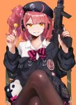 1girl candy commission food girls_frontline gun h&k_mp7 highres iitenkidesune lollipop mp7_(girls_frontline) off_shoulder pantyhose red_nails redhead short_hair skeb_commission solo submachine_gun weapon yellow_eyes