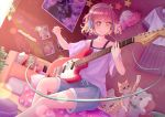 bed brown_eyes cat dutch_angle guitar headphones higenekopic highres indoors instrument music nail_polish_bottle original photo_(object) pillow pink_hair plant playing_instrument plectrum poster_(object) purple_shirt school_uniform shirt shorts smile
