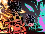2boys abs absurdres alien angry cosplay crossover dragon_ball dragon_ball_z english_commentary floating floating_hair gogeta gogeta_(cosplay) highres kirby kirby_(series) long_hair looking_at_viewer multiple_boys muscle saiyan sherif_lotfy super_saiyan v-shaped_eyebrows