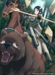 40hara angry arrow_(projectile) bear black_eyes black_hair boobplate bow_(weapon) breastplate circlet feathers fire_emblem fire_emblem_awakening fire_emblem_cipher gloves green_shirt highres horse noire_(fire_emblem) official_art outdoors pants scared shirt teeth undershirt weapon