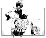 1other 2girls angelina_(arknights) arknights carrying_overhead crossed_arms doctor_(arknights) frying_pan gloves gummy_(arknights) hood monochrome multiple_girls school_uniform smile staff twintails ymayma00ss