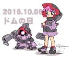 1girl bazooka_(gundam) character_name chibi commentary dated dom glowing glowing_eye gun gundam holding holding_gun holding_weapon king_of_unlucky looking_at_viewer mecha mobile_suit_gundam one-eyed personification pink_hair red_eyes skating sketch violet_eyes weapon zeon