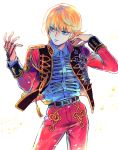 1boy aiguillette alternate_costume bangs belt bhh4321 blonde_hair chain collared_shirt contrapposto cowboy_shot dress_shirt earrings hair_flip hands_up highres hunter_x_hunter jacket jewelry kurapika long_sleeves looking_at_hand looking_away looking_to_the_side male_focus medal open_clothes open_jacket pants parted_lips red_jacket red_pants ring shirt short_hair simple_background sleeve_cuffs solo tassel weapon white_background white_shirt