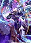 1girl armor armored_boots arrow_(projectile) bernadetta_von_varley boots bow_(weapon) bracer breastplate crest dress earrings fingerless_gloves fire_emblem fire_emblem:_three_houses fire_emblem_cipher gloves grey_eyes hair_ornament horse jewelry nervous official_art outdoors purple_hair short_dress shoulder_armor shoulder_spikes spikes thigh-highs tobi_(kotetsu) weapon