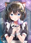 1girl :p animal_ear_fluff animal_ears apron bangs black_dress black_hair blue_eyes breasts candy cat_ears cat_girl cat_tail closed_mouth commentary_request curtains dress eyebrows_visible_through_hair food hair_between_eyes hands_up heart_lollipop highres holding holding_candy holding_food holding_lollipop lollipop looking_at_viewer maid maid_headdress masayo_(gin_no_ame) original puffy_short_sleeves puffy_sleeves short_sleeves small_breasts smile solo swirl_lollipop tail tail_raised tongue tongue_out upper_body white_apron wrist_cuffs