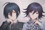 2boys ahoge artist_name bangs black_hair brown_eyes checkered checkered_scarf cheek_rest closed_mouth commentary_request danganronpa ewa_(seraphhuiyu) facing_viewer finger_to_cheek hair_between_eyes hand_up highres index_finger_raised jacket layered_sleeves long_sleeves looking_at_another male_focus multiple_boys new_danganronpa_v3 ouma_kokichi portrait purple_hair saihara_shuuichi scarf shirt short_hair smile straitjacket striped_jacket violet_eyes white_jacket