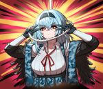 >:) 1girl bangs black_gloves camouflage cheogtanbyeong collar collarbone collared_shirt eyebrows_visible_through_hair feathers girls_frontline gloves glowing hair_between_eyes hairband highres holding holding_rope load_bearing_vest long_hair long_sleeves neck_ribbon neck_scar noose off_shoulder red_eyes red_neckwear red_ribbon ribbon rope shirt silver_hair solo sparkle thunder_(girls_frontline) v v_over_eye