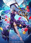 1girl anklet azura_(fire_emblem) barefoot black_dress black_veil blue_hair dress elbow_gloves fire_emblem fire_emblem_cipher fire_emblem_fates flower fuzichoco gloves holding holding_weapon jewelry long_hair moon mouth_veil official_art outdoors polearm purple_ribbon ribbon single_leg_pantyhose spear walkie-talkie water_drop weapon yellow_eyes
