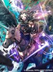 1girl armor armored_boots black_hair book boots breastplate circlet clothing_cutout dark_magical_circle fire_emblem fire_emblem_cipher fire_emblem_fates flat_chest flight hair_ornament head_wings holding holding_weapon kawasumi_mahiro magic midriff mouth_veil nyx_(fire_emblem) official_art panties pegasus red_eyes shoulder_armor thigh_cutout underwear weapon