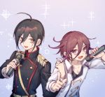 2boys :d ahoge alternate_costume androgynous bell black_hair black_shirt brown_eyes brown_hair collarbone commentary_request danganronpa epaulettes ewa_(seraphhuiyu) hair_bell hair_between_eyes hair_ornament hands_up highres holding holding_microphone index_finger_raised jacket long_sleeves looking_at_viewer male_focus microphone military military_uniform multiple_boys new_danganronpa_v3 open_mouth ouma_kokichi pointing pointing_at_viewer purple_hair saihara_shuuichi shirt sketch smile sparkle uniform upper_body violet_eyes weapon white_jacket
