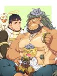 3boys abs animal_ears animal_on_shoulder arsalan_(tokyo_houkago_summoners) bara bare_chest beard black_bodysuit black_hair blush bodysuit brown_fur cat cat_on_shoulder character_request chest chest_hair closed_eyes couple crossed_legs eating facial_hair fingernails furry green_hair halo highres lion_boy lion_ears looking_at_another male_focus medium_hair multiple_boys muscle nipples on_lap open_mouth paper sharp_fingernails shoes short_hair size_difference stubble thick_thighs thighs tokyo_houkago_summoners yellow_eyes yellow_fur youzora_samo18 zabaniya_(tokyo_houkago_summoners)