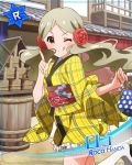 character_name green_hair handa_roko idolmaster_million_live!_theater_days long_hair smile wink yellow_eyes yukata